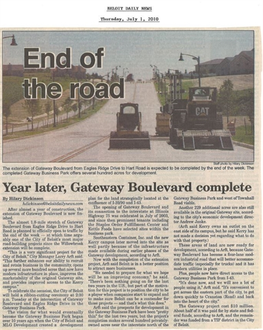 Years Later, Gateway Boulevard complete